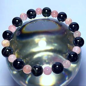 Genuine Tourmaline & Rose Quartz Gem Bracelet!